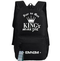 Wholesale Pop Stars Music - Eminem backpack Pop star fans school bag Hip hop daypack Music schoolbag Outdoor rucksack Sport day pack