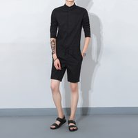 Wholesale Three Quarter Sleeve Jumpsuits - 2017 Summer men jumpsuit casual three quarter sleeve fashion overalls one piece clothing set bib pants overall singer costumes