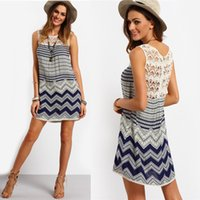 Wholesale Sleeveless Bohemian Beach Tank Dress - Newest Summer Hot Women's Striped Beach Dresses with Lace Sleeveless Tank Loose Boho Dress S-2XL ZL3106