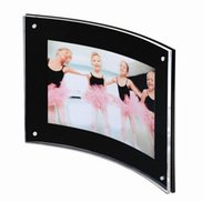 Wholesale Arc Photo - 8.5 X 11 inches black transparent arc-shaped photo poster label holder sign name signage frame desktop stand