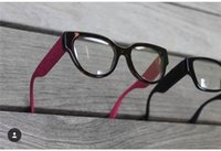 Wholesale Optic Crystal - New fashion eye glasses charming cat eye frame special popular design legs with shiny crystal optics glasses sequins transparent lens 1030