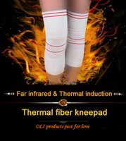 Wholesale Far Infrared Knee - Wholesale- Far infrared & thermal induction fiber knee pads high elastic formfitting fit for sports health care free shipping #knee1630