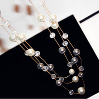 Wholesale Lady Multi Crystal Necklace - hot sale Fashion jewelry classic elegant 80cm woman lady sweater pearl crystal beaded multi layer long pendant necklace