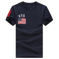 polo kısa kollu gömlek toptan satış-Ücretsiz kargo 2017 Yüksek kalite pamuk yeni O-Boyun kısa kollu t-shirt marka erkek T-shirt casual Bayrak spor erkekler için polo T-shirt