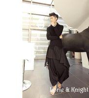 Wholesale Dance Pants Skirts - Wholesale-Free Shipping Men's Hip Hop Harem Pants Long Black Dance Skirt Pants Japanese Harajuku Fashion Drop Crotch Baggy Trousers