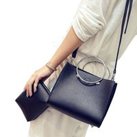 Wholesale Evening Clutch Bag Large - Wholesale- two in one Fashion Women large tote bag leather Hoop Handbag Single shoulder bag small + Clutch evening Bags bolsas feminina