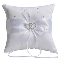 Wholesale White Wedding Ring Cushion - ivory ring bearer pillow New Wedding Ceremony White Ivory Satin Flower Crystal Ring Bearer Pillow Cushion
