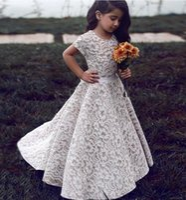 Wholesale Aline Communion Dress - 2017 Lace Flower Girls Dresses For Weddings Aline Short Sleeves Ivory Champagne Floor Length Pageant Dresses For Girls Kids Wedding Dress