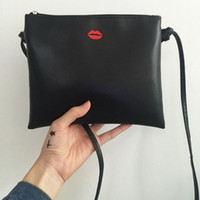 Wholesale Korea Sexy Girls - Wholesale- Red Sexy Lip PU Leather Women Messenger Bag Red Lips Lady Flap Shoulder Bags Girls Clutch Handbags Korea Style Crossbody Bag