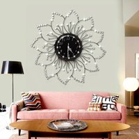 Wholesale Flower Movement - Wholesale- Clocks Wall Clocks Home Decor The flowers of European modern fashion watch diamond watch iron sun large wall clock movement