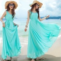 Wholesale Solid Light Blue Ball Gown - 2017 Fashion New Summer Elegant Bohemia Style Crew Neck Sleeveless Chiffon Beach Maxi Dress M L Light Blue Drop Shipping