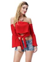 mädchen kollidierte großhandel-Großhandelsmädchenmode-Trägershirt feste reine Farbenfrauen trägerloses Kragenbanddamen T-Shirt 24 Farben