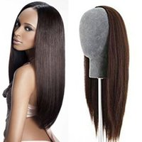 Wholesale Long Half Wig Human Hair - Silky Straight 3 4 Half Wig Brazilian Virgin Human Hair Glueless None Lace Wig For Black Women 8-26 Inch 2017 Most Popular