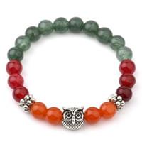 brazalete de la india al por mayor-Pulseras coloridas para mujeres Pulseras de cuentas de búho de plata tibetana Charms Bangles Vintgae India Bead Jewelry Christmas Gift