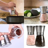 Wholesale New Stainless Steel Brushed Salt Mill Pepper Grinder Bottle With Glass Bottle For Kitchen Tools