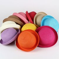 Wholesale Straw Hats For Children - Boys girls summer Straw Hats candy colors Sun Hat Solid can diy Children cap you like styles 50cm to 52cm for kids