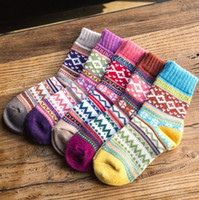 Wholesale Girls Thick Warm Socks - Wool Socks Winter Women Warm Socks Fashion Colorful Thick Socks Ladies Girls Retro Rabbit Wool Casual Snowflake Sock 5 design KKA2182