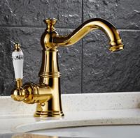 banyo muslukları satışı toptan satış-Toptan Ve Perakende Ile Uzun Musluğu Kaliteli Banyo Lavabo Bataryası Pirinç Altın Tek Kolu Tek Delik / Lüks Banyo Mikser Dokunun Satış