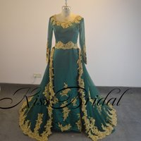 Wholesale Sample Long Sleeve Evening Dresses - Real Sample Golden Lace Appliques Flower Lace Up Beading Evening dresses with detachable tulle train prom dresses