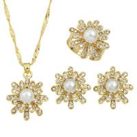 Wholesale Fancy Pearl Earrings - Latest Model Wedding Jewelry Set Rhinestone and Pearl Earrings Rings Necklace Fashion Jewelry Sets for Fancy Women