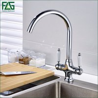 Wholesale Wash Hand Basin Mixer - FLG Free shipping Luxury Chrome Finish Kitchen Faucets Tap Doal Hands With Ceramic Hot Cold Wash Basin Mixer Water Tap 179-33C