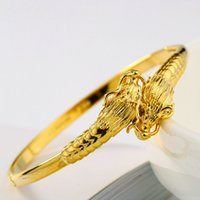 Wholesale 24k Bangle Dragon - Unisex 24K Yellow Gold Filled Dragon Head Openable Bracelets Solid Bangle Jewelry Dia 60mm
