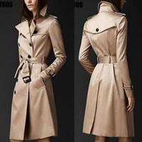 casaco duplo botão venda por atacado-Estilo Britânico Trench Coat Para As Mulheres 2016 Novos Casacos das mulheres Primavera E No Outono Botão Duplo Sobre O Casaco Longo Plus Size XXL