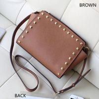Wholesale Jelly Glitter Purses - 2017 BRAND fashion MICHAE KALL handbags PU leather luxury handbag famous Designer rivet bags selma purse one-shoulder tote Bag#3038 tag