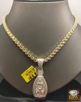 "Wholesale White Gold Diamond Key Necklace - Men's 10K Yellow Gold Byzantine Chain 30"", 1CT Diamonds,Car Keys Charm Pendent"