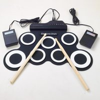 Wholesale Electronic Drums Sets - Wholesale-Professional 7 Pad Digital Portable Collapsible Silicone Musical Roll-up Electronic Drum Pad K Set with Stick
