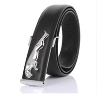 Wholesale Wholesale Leather Belts For Men - Wholesale- LuxuryGenuine leather designer belts men high quality gold silver Jaguar smooth buckle male belt wideband business belts for men
