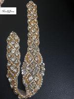 Wholesale Clear Beaded Sash - 100 Pcs lot Elegant Handmade Beaded Sewing Bridal Sash Crystal Silver Clear Rhinestone Appliques for Wedding Dresses Belt Love3