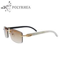 en iyi tasarımcı güneş gözlüğü markaları toptan satış-Lüks Güneş Gözlükleri Manda Boynuzu Gözlük Erkek Kadın Güneş Gözlüğü Marka Tasarımcısı En İyi Kalite Beyaz İç Siyah Manda Boynuzu