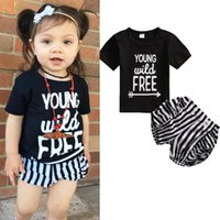 Wholesale little girl cute outfits - Fashion Baby Girls Clothes Sets Children 2017 Summer Short Sleeve T shirt Tops+ Stripe Shorts 2Pcs Suit infant sports Outfit For Little Girl