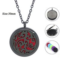 Wholesale Magnetic Lockets - With chain as gift! 316L Stainless Steel diffuser locket magnetic black aromatherapy locket necklace perfume locket pendant