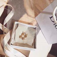 Wholesale Gold Beads Hoop Earrings - Free shipping women's classic gold color rhinestone beads crystal earrings hoop