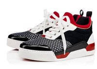 Wholesale Silver Plastic Spikes - 2017 Loubs Red Bottom Sneakers With Spikes Men Shoes Genine Leather Aurelien Flat Mid Sneakers Discount Free Shipping