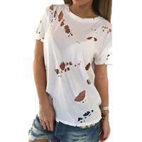 agujeros negros atractivos de la camisa al por mayor-Al por mayor- 2017 Summer Holes T Shirt Mujeres Moda Sexy negro blanco de algodón de manga corta Ripped Tops camisas Casual camiseta suelta