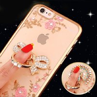 Luxo Bling Peacock Diamond Ring Holder Phone Case Crystal Flexible TPU Cover para Huawei P8 P9 P10 Plus mate 7 8 9 Com Kickstand