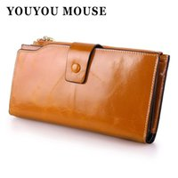 Wholesale Mouse Note Holder - YOUYOU MOUSE Genuine Leather Cowhide Women Wallets Korean Oil Wax Paper Long Womens Wallets New Fashion Design Clutch Creative