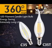 ingrosso lampadario a bulbo di filamenti-Lampadina a LED a candela E12 E14 E27 E26 B15 B22 Lampadine a LED a filamento a risparmio energetico per lampadario C35 C35T Edison Candle Lamp
