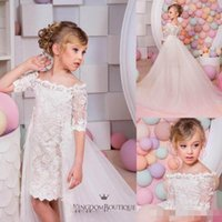 Wholesale Two Part Short Dress - Christimas two pieces off the shoulder mini flower girls dresses with detachable train lace tulle birthday part gowns for kids wedding