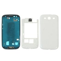 Wholesale S3 Replacement Frame - 100PCS Full Housing Case Cover Middle frame Bezel with Side Buttons and Home Buttons Replacements for Samsung Galaxy S3 i9300 free DHL
