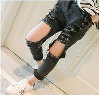 Wholesale Korean Girl Jeans - Girls Denim Pants Kids Girls Fashion Hallow Out Jeans 2017 Baby Girl Spring Casual Trouser Children's Korean clothing