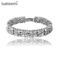 Wholesale White Indian Bangles - LUOTEEMI Brand New Luxurious Women Chain Bracelet Bride Wedding Zircon Bangles High Quality CZ Inlay Bracelet for Girl Party