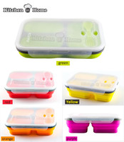 Wholesale Touring Package - Wholesale Silicone Collapsible Portable Lunch Box Bowl Bento Boxes Folding Food Storage Container Lunchbox Eco-Friendly 3 Grids Microwave