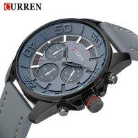 Wholesale Cool Clocks Design - CURREN 2017 New Brand Design Leather Military Men Wristwatch Cool Fashion Clock Sport Male Gift Watch Business Quartz Watch 8187
