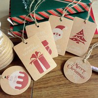 Wholesale Deco Labels - Wholesale-50pcs pack New Merry Christmas Kraft Paper Gift Tags Label Luggage Blank with Strings For DIY Christmas Gifts Deco Party Supply