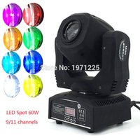 Wholesale Led Disco Spot - Wholesale-Fast&Free Shipping Moving Head Light 60W LED Spot Light with gobo&color wheel 9 11CHs for Disco DJs Equipmentnt