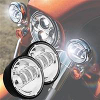 levou lâmpada de névoa cromada venda por atacado-2 Pcs Acessórios Da Motocicleta Preto Daymaker LED Moto Fog Lamp 4-1 / 2 Polegada Rodada Farol Harley Davidsion Cromo Auxiliar Luzes